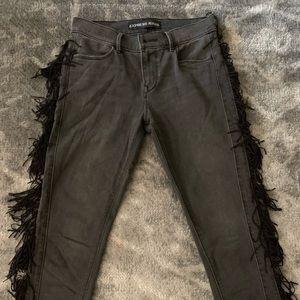 Express fringe skinny jeans
